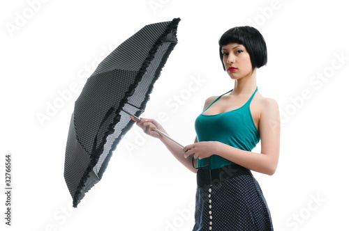 sad beautiful girl with umbrella