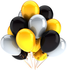 Party balloons birthday decoration multicolor yellow black white