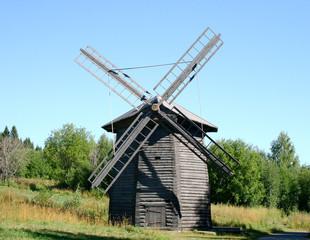 Windmill of XIX century in museum Khokhlovka, Perm Krai, Russia
