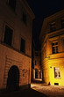 illuminated mysterious narrow alley at night