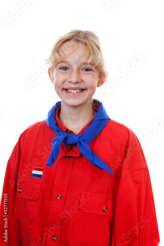Portrait of  Dutch scout girl over white background