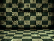 green tiled grunge room