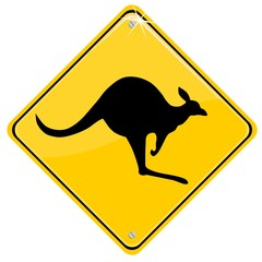 Australian traffic sign with a kangaroo