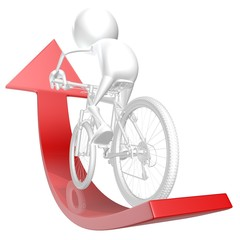 3d man riding his bicycle on the red arrow up, success