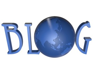 blue word Blog with 3D globe replacing letter O