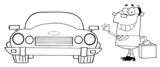 Outlined Commuter Businessman And Convertible Car poster