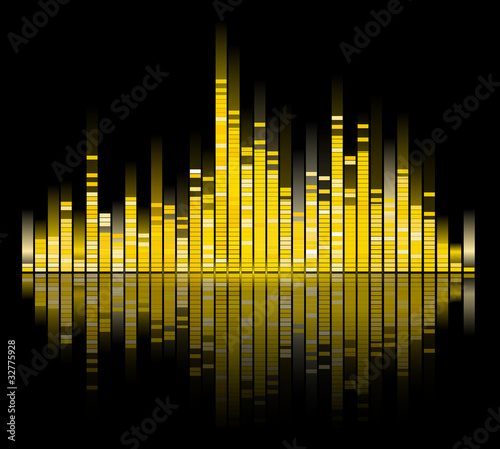 yellow digital sound equalize isolated on black background