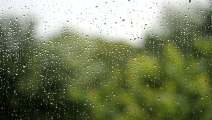 Regentropfen an einem Fenster