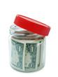 banknote in opened jar