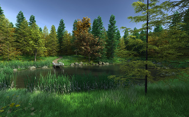 Small Woodland Lake with Jetty