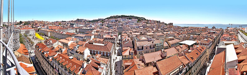 cityscape of Lisbon with Sao Jorge Castle and Se Cathedral