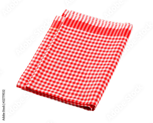 Red and white checked tea towel