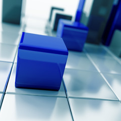Abstract dark blue metallic cubes on a white