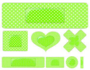set of green plasters isolated on white background