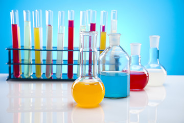 Laboratory glassware containing colorful liquid