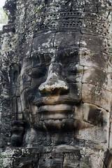 Stone Face on Bayon Temple at Angkor Thom, Cambodia