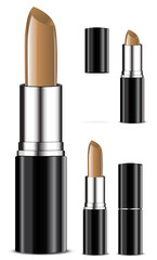 set of nude tone color lipsticks isolated on white background