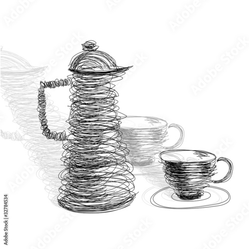 Tea cup with teapot © Regina Jersova