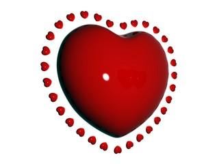 Красное сердце на белом фоне