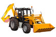 Yellow bulldozer-excavator over white background