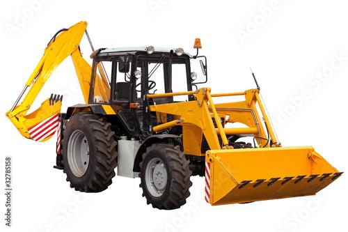 Yellow bulldozer-excavator over white background