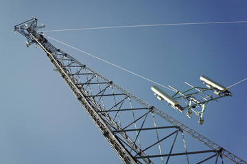 Crew installing boom with antennas
