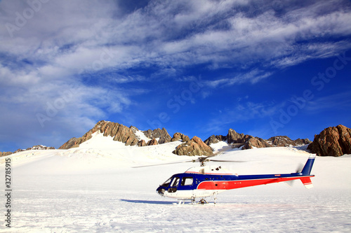 Tuinposter Helicopter helicopter Mount cook New Zealand