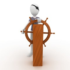 3d man sailor pirate at the wheel