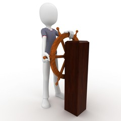 3d man sailor at the wheel