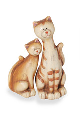 Two clay funny enamoured cats