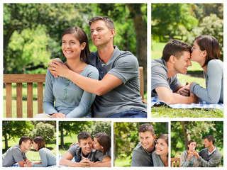 Collage of a lovely couple enjoying moments together in a park