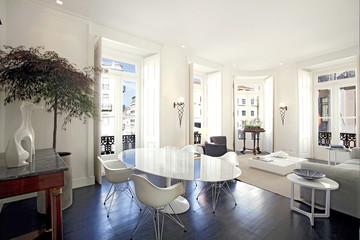 Contemporary living area with designer furniture