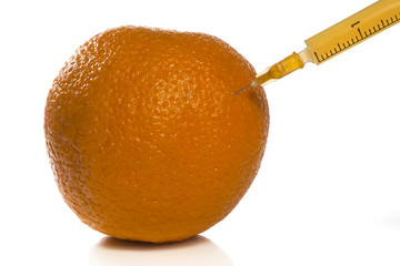 Essence of orange extracted with a hypodermic needle