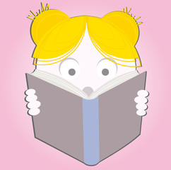 Illustration of a young sweet girl child reading a book