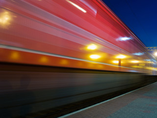red speeding train blur