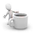 3d Little man with a big cup of coffee