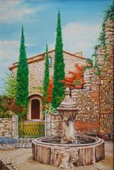 tableau - peinture de fontaine de vaucluse