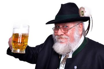 Mann in bayrischer Tracht mit Bierkrug