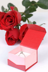 Diamond ring in box and red rose