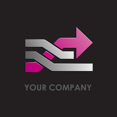 Logo passing to the future, black background # Vector