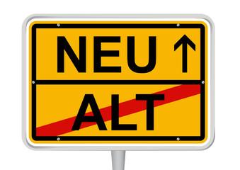 Ortsschild Alt/ Neu