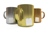 Podium of cups with tea labels, isolated, clipping path