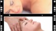 Montage of women relaxing while having a massage