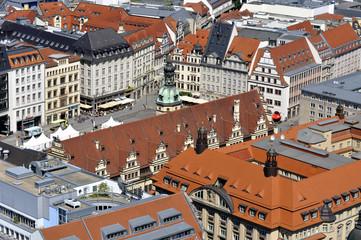 Leipzig Luftbild Marktplatz und Altes Rathaus