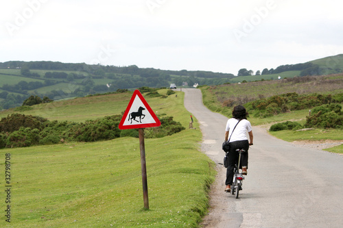 Woman in holidays cycling
