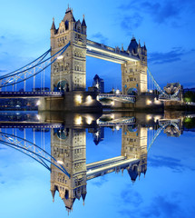 Tower Bridge at night in  London, UK