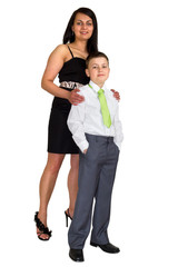 Mother with son over white background