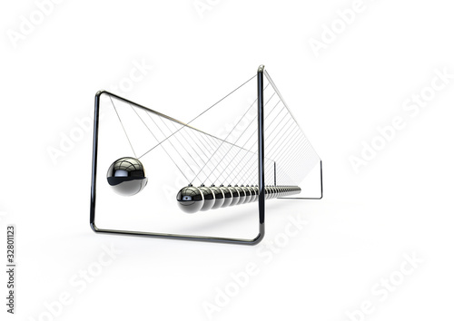 Ridiculously long newtons cradle