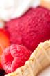 Ausschnitt von Johannisbeersorbet mit Früchten