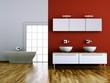 Wohndesign - Bad rot mit Parkett